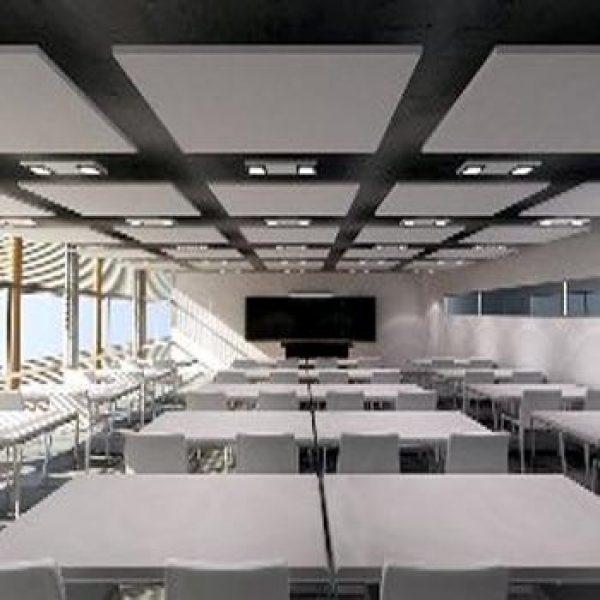 rockfon vierkant plafondeiland akoestisch akoestiek plafond wit
