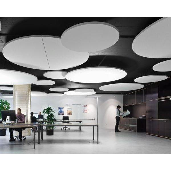 akoestische plafond platen panelen eiland rockfon eclipse circle rond