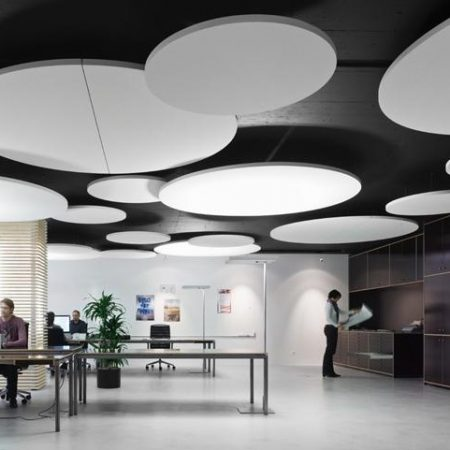 akoestische plafond platen panelen eiland ecophon rond