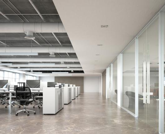 akoestiek op kantoor werkplek verbeteren systeemplafond plafondplaten plafondeilanden akoestische