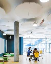 ecophon mastersolo rond plafondeiland akoestisch akoestiek plafond systeemplafond wit